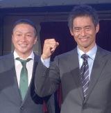 生中継のCMに出演した(左から)岡野雅行、川口能活 (C)ORICON NewS inc.