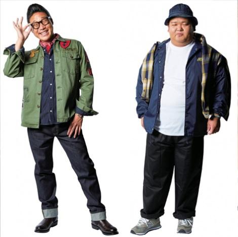 旬のアメカジスタイルに挑戦したANZEN漫才・みやぞん(左)とあらぽん=『smart』10月号(宝島社)