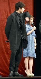 この身長差でアクションをしたという(左から)城田優、川栄李奈=映画『亜人』完成披露試写会 (C)ORICON NewS inc.