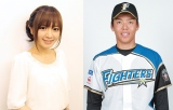 第1子を出産した紺野あさ美さん(左)、杉浦稔大投手 (C)ORICON NewS inc.