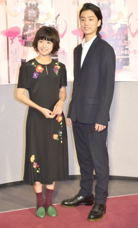 土曜時代ドラマ『アシガール』の記者会見に出席した(左から)黒島結菜、健太郎 (C)ORICON NewS inc.