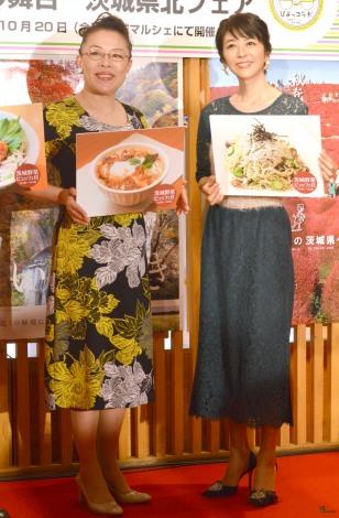 「『ひよっこ』の舞台 茨城県北フェア』」キックオフイベントに出席した(左から)柴田理恵、白石美帆 (C)ORICON NewS inc.