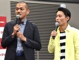 映画『スクランブル』の公開直前イベントに出席したカミナリ(左から)竹内まなぶ、石田たくみ (C)ORICON NewS inc.