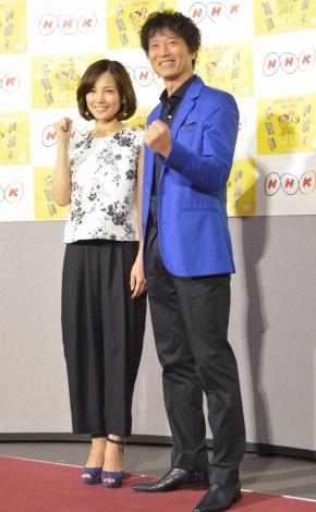 『平成29年度 NHK語学番組』発表会見に出席した(左から)国仲涼子、寺脇康文 (C)ORICON NewS inc.