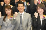 TBSの入社式に登場した(左から)宇垣美里さん、唐沢寿明、皆川玲奈さん (C)ORICON NewS inc.