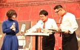『シャルロッテ』新商品・新CM発表会に出席した(左から)黒木華、シソンヌのじろう、長谷川忍(C)ORICON NewS inc.