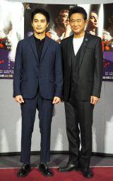 BS時代劇『赤ひげ』の試写会に出席した(左から)中村蒼、船越英一郎 (C)ORICON NewS inc.