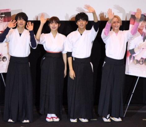 映画『一礼して、キス』の完成披露先行上映会に出席した(左から)結木滉星、池田エライザ、中尾暢樹、前山剛久 (C)ORICON NewS inc.