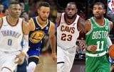 WOWOWでNBAバスケットボール17-18シーズンの放送決定(左より)ラッセル・ウェストブルック、 ステフィン・カリー、 レブロン・ジェームズ、 カイリー・アービング (C)2017 NBA EntertainmentGetty Images.All Rights Reserved.