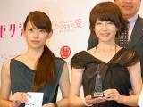 『第2回ベストエンゲージメント2014』表彰式に出席した(左から)平井真央氏&平井理央姉妹 (C)ORICON NewS inc.