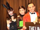 映画『THE LIMIT OF SLEEPING BEAUTY』の初日舞台あいさつに出席した(左から)円谷優希、阿部純子、満島真之介