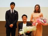 (左から)西島秀俊、国枝慎吾選手、マールー・ファン・ライン選手 (C)ORICON NewS inc.