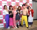 『KOYABU SONIC』でコラボした(左から)SCANDAL(TOMOMI、RINA、MAMI、HARUNA)、吉本新喜劇の吉田裕、小籔千豊、すっちー (C)ORICON NewS inc.