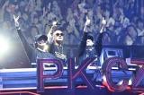 『PKCZ(R)×HiGH&LOW完成披露試写会&PREMIUM LIVE SHOW』に出演したDJ MAKIDAI、VERBAL、DJ DARUMA (C)2017「HiGH&LOW」製作委員会