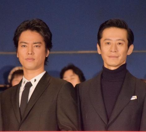 映画『火花』初日舞台あいさつに出席した(左から)桐谷健太、三浦誠己 (C)ORICON NewS inc.