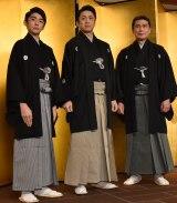 高麗屋三代襲名披露祝賀会に出席した(左から)松本金太郎、松本染五郎、松本幸四郎 (C)ORICON NewS inc.