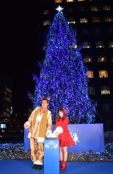 『青山クリスマスサーカス by avex』イルミネーション点灯式に出席した(左から)ピコ太郎、川栄李奈 (C)ORICON NewS inc.