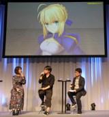 (左から)川澄綾子、塩川洋介氏、伊神公博氏=『Fate/Grand Order Arcade』発表会 (C)ORICON NewS inc.