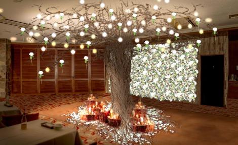 サムネイル 天井まで枝が広がる雲龍柳が圧巻! 降り積もった雪と花が織りなす幻想的な空間