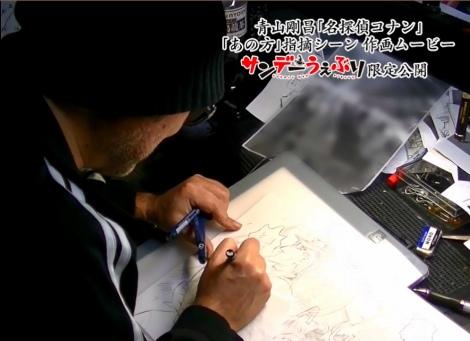 12月13日発売の『週刊少年サンデー』3・4合併号に掲載される『名探偵コナン』の歴史的シーンを描く青山剛昌氏。約20分の動画全編を「サンデーうぇぶり」アプリ限定で公開