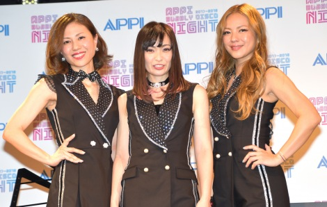『APPI BUBBLY DISCO NIGHT』記者発表会に出席したMAXの(左から)NANA、MINA、LINA (C)ORICON NewS inc.