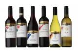 写真左から『ワールドプレミアム フランス ボルドー』『同 イタリア キャンティ』『同 ドイツ リースリング』『同 オーストラリア シラーズ/ヴィオニエ』『同 チリ カルメネール』『同 日本ワイン 甲州』