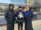 日本テレビ系元旦特番『ウルトラマン DASH』のフリーキック企画で遠藤保仁・小野伸二・中澤佑二が日本代表以来のタッグ (C)日本テレビ