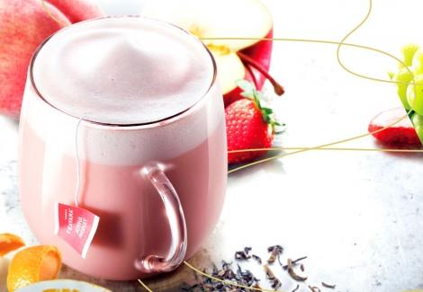 サムネイル スタバ新作『ピンク メドレー ティー ラテ』Short430円〜Venti550円、2018年2月14日までの販売
