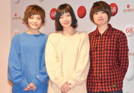 『第68回NHK紅白歌合戦』のリハーサルに参加したSHISHAMO(左から)松岡彩、宮崎朝子、吉川美冴貴 (C)ORICON NewS inc.