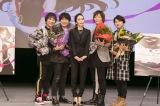 トリビュートアルバム『Shizuka Kudo Tribute』リリース記念イベントに参加した(左から)関智一、鈴村健一、工藤静香、谷山紀章、下野紘