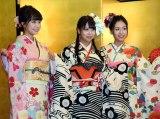 (左から)NMB48の加藤夕夏、白間美瑠、内木志=AKB48グループ成人式記念撮影会 (C)ORICON NewS inc.