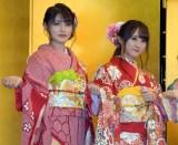 (左から)HKT48の神志那結衣、植木南央=AKB48グループ成人式記念撮影会 (C)ORICON NewS inc.