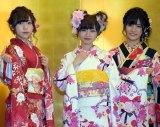 (左から)NGT48の宮島亜弥、中井りか、村雲颯香=AKB48グループ成人式記念撮影会 (C)ORICON NewS inc.