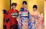 (左から)STU48の岡田奈々、瀧野由美子、森香穂=AKB48グループ成人式記念撮影会 (C)ORICON NewS inc.