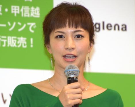 今年は「子どもを1番に考えたい」と抱負を語った安田美沙子=「ユーグレナ」の新商品発表会(C)ORICON NewS inc.