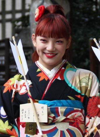 シングル「あいしてると言ってよかった」のヒット祈願を行ったE-girlsの須田アンナ (C)ORICON NewS inc.