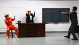 舞台『熱海殺人事件 CROSS OVER 45』のけいこ場公開に参加した(左から)匠海、味方良介、石田明 (C)ORICON NewS inc.
