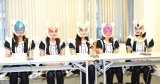 会見を行った仮想通貨少女(左から)香月ひなた、白浜妃奈乃、成瀬らら、上川湖遥、天羽あみ