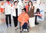 『東京2020オフィシャルショップ』のオープン記念イベントに出席した(左から)八木沼純子、上原大祐選手、上村愛子さん (C)ORICON NewS inc.