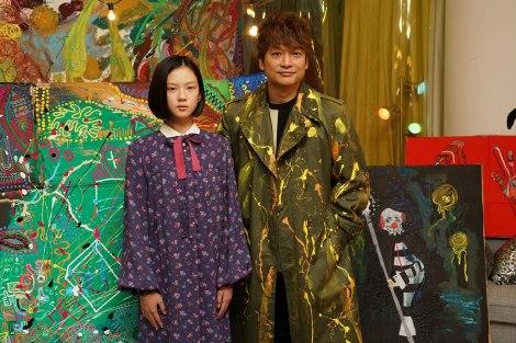 (左から)中島セナ、香取慎吾=映画『クソ野郎と美しき世界』撮影現場囲み取材