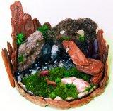"""多肉植物・苔・ウッドチップで大自然を表現した""""植ラマ""""(写真提供 緑花星)"""