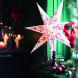 イケア・クリスマスコレクション/STRALA/ストローラ ランプシェード カービッツ ホワイト/レッド 70cm /税込499円