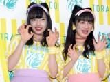 『2018年「TORACO」応援隊長就任記者会見』に出席したNMB48の村瀬紗英(左)、川上千尋(右) (C)ORICON NewS inc.