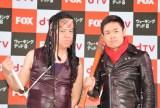 dTV×FOX「ウォーキング・デッド」プレミアム上映会に出席した(左から)原西孝幸と品川祐 (C)ORICON NewS inc.