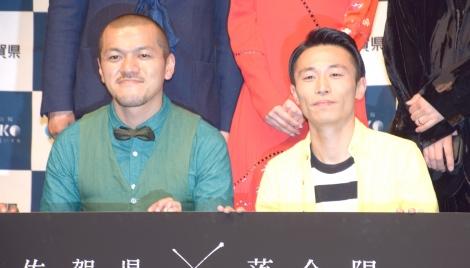 佐賀県の地方創生プロジェクト『YOBUKO HOLO-EXPERIENCE EXHIBITION』のイベントで茨城愛を隠し切れないカミナリ(左から)竹内まなぶ、石田たくみ (C)ORICON NewS inc.