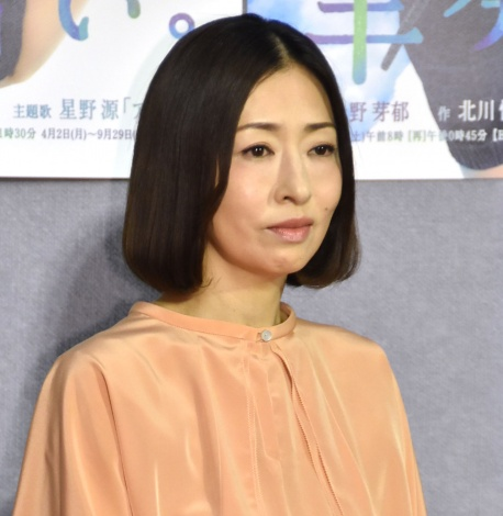 NHK連続テレビ小説『半分、青い。』の第1週完成試写会に出席した松雪泰子 (C)ORICON NewS inc.