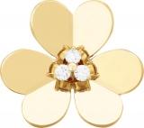 ヴァン クリーフ&アーペル 大きな1輪の花モチーフの花芯には3石のダイヤモンドが光る