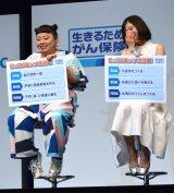 アフラック『生きるためのがん保険Days1』新商品発表会に出席した(左から)渡辺直美、松岡茉優 (C)ORICON NewS inc.