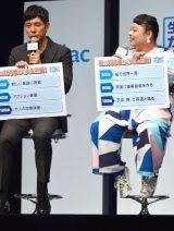 アフラック『生きるためのがん保険Days1』新商品発表会に出席した(左から)西島秀俊、渡辺直美 (C)ORICON NewS inc.