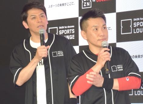 『プロ野球開幕直前イベント』に出席したますだおかだ(左から)岡田圭右、増田英彦 (C)ORICON NewS inc.